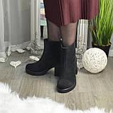 Ботинки женские на высоком устойчивом каблуке, из натуральной замши с лазерным напылением. 37 размер, фото 5