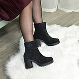 Ботинки женские на высоком устойчивом каблуке, из натуральной замши с лазерным напылением. 37 размер, фото 6
