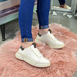 Кроссовки женские кожаные на спортивной подошве, цвет бежевый/леопард. 37 размер