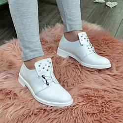 Туфли белые женские на шнуровке, натуральная кожа флотар. 37 размер