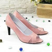Туфли женские с открытым носком, натуральная замша питон. 38 размер