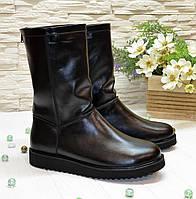 Угги кожаные женские, цвет черный. 37 размер