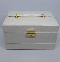 Шкатулка-кейс для украшений полуавтомат белый, фото 1
