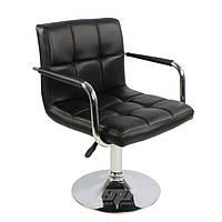 Кресло, визажное кресло, стул для визажиста, барный стул, высокий стул Артур, экокожа, цвет черный.