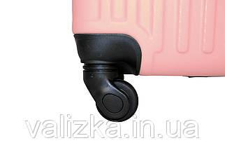 Чемодан из противоударного пластика большого размера Fly на 4-х колесах светло-розового цвета., фото 3