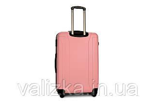 Чемодан из противоударного пластика большого размера Fly на 4-х колесах светло-розового цвета., фото 2