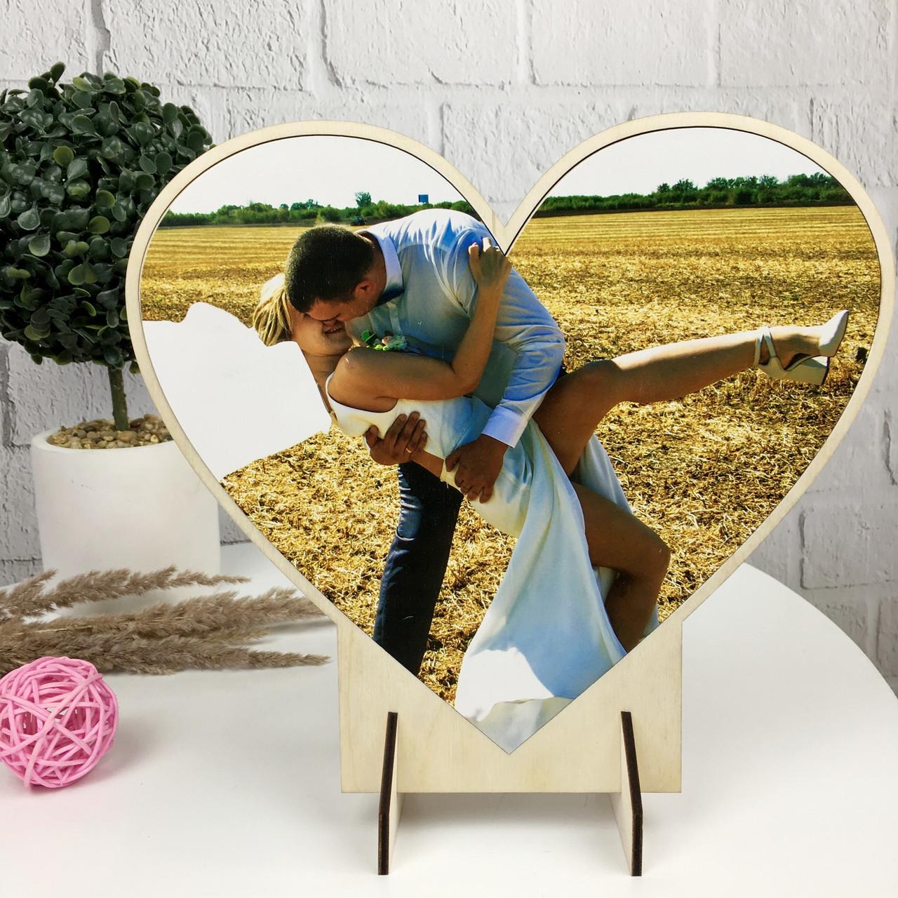 Оригинальная деревянная настольная валентинка с Вашим фото на заказ