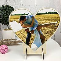 Оригінальна настільна дерев'яна валентинка з Вашим фото на замовлення