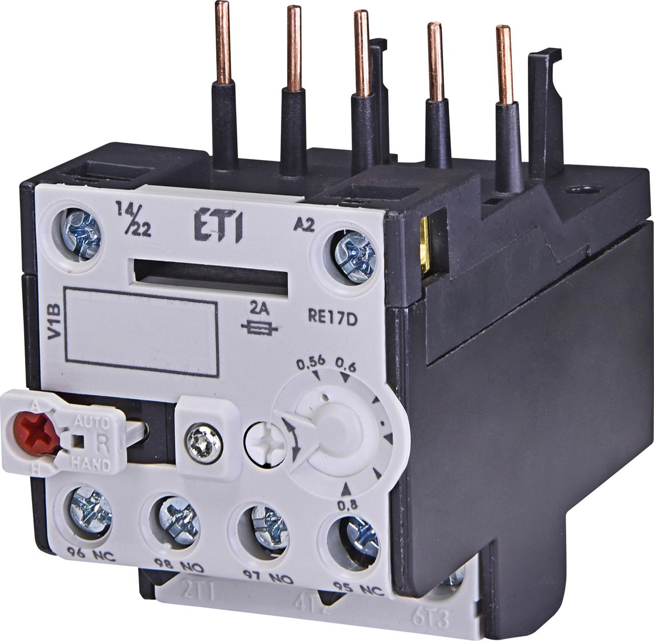 Тепловое реле ETI RE 17D-0,8 (0,56-0,8A) CE07/CEC 4641402 (для контакторов)