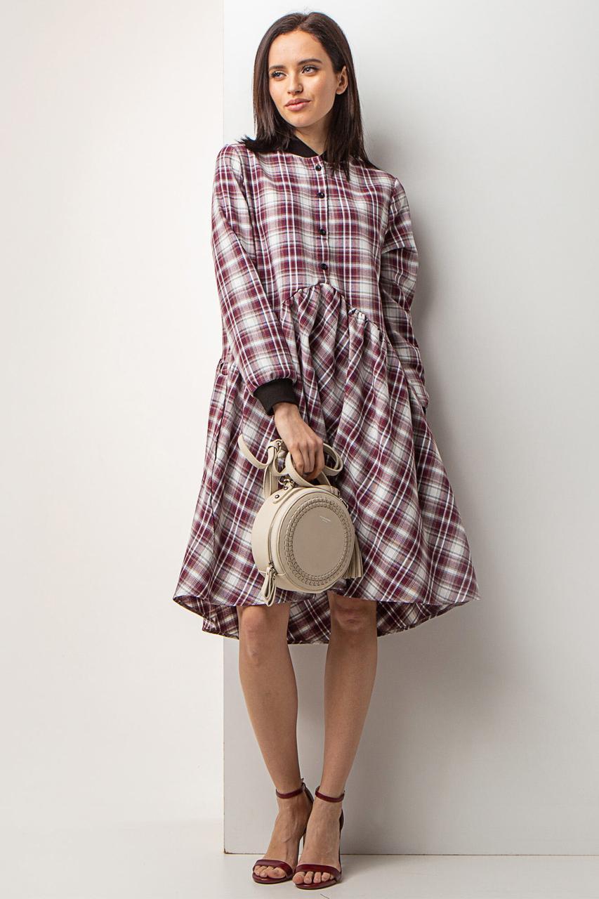Хлопковое платье-рубашка ARINA в клетчатый принт с широкой юбкой и трикотажными манжетами