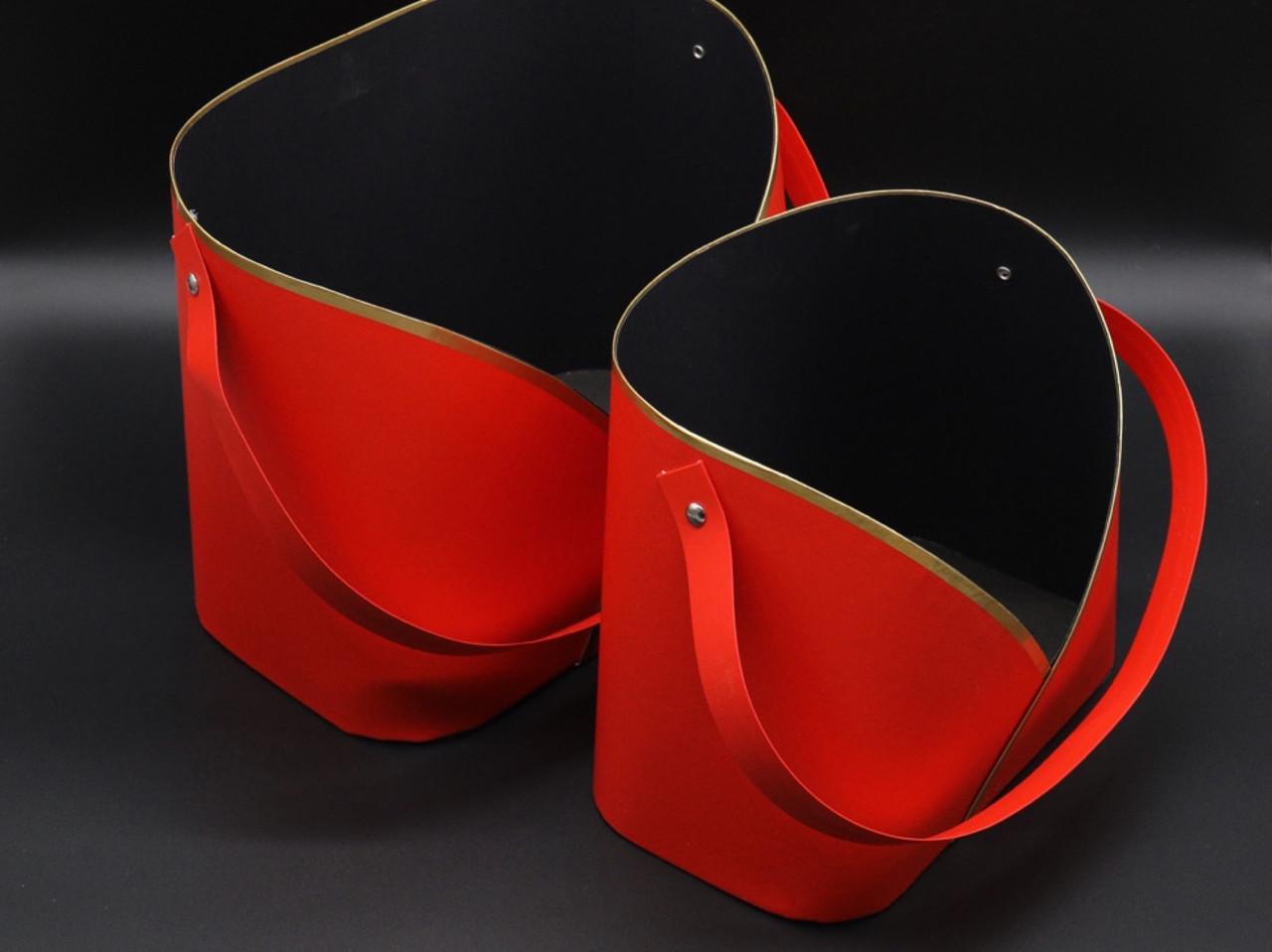 Коробки для квітів. Сумочка. Колір червоний. 2шт/комплект. 25х20х15см
