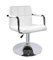 Кресло, визажное кресло, стул для визажиста, барный стул, высокий стул Артур, стулья, экокожа, цвет белый.