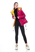 Модная новинка куртка молодёжная латекс цвет малиновый ярко-розовый размер 42-52, фото 3