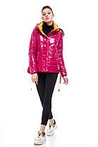 Модна новинка куртка молодіжна латекс малиновий колір яскраво-рожевий розмір 42-52, фото 2