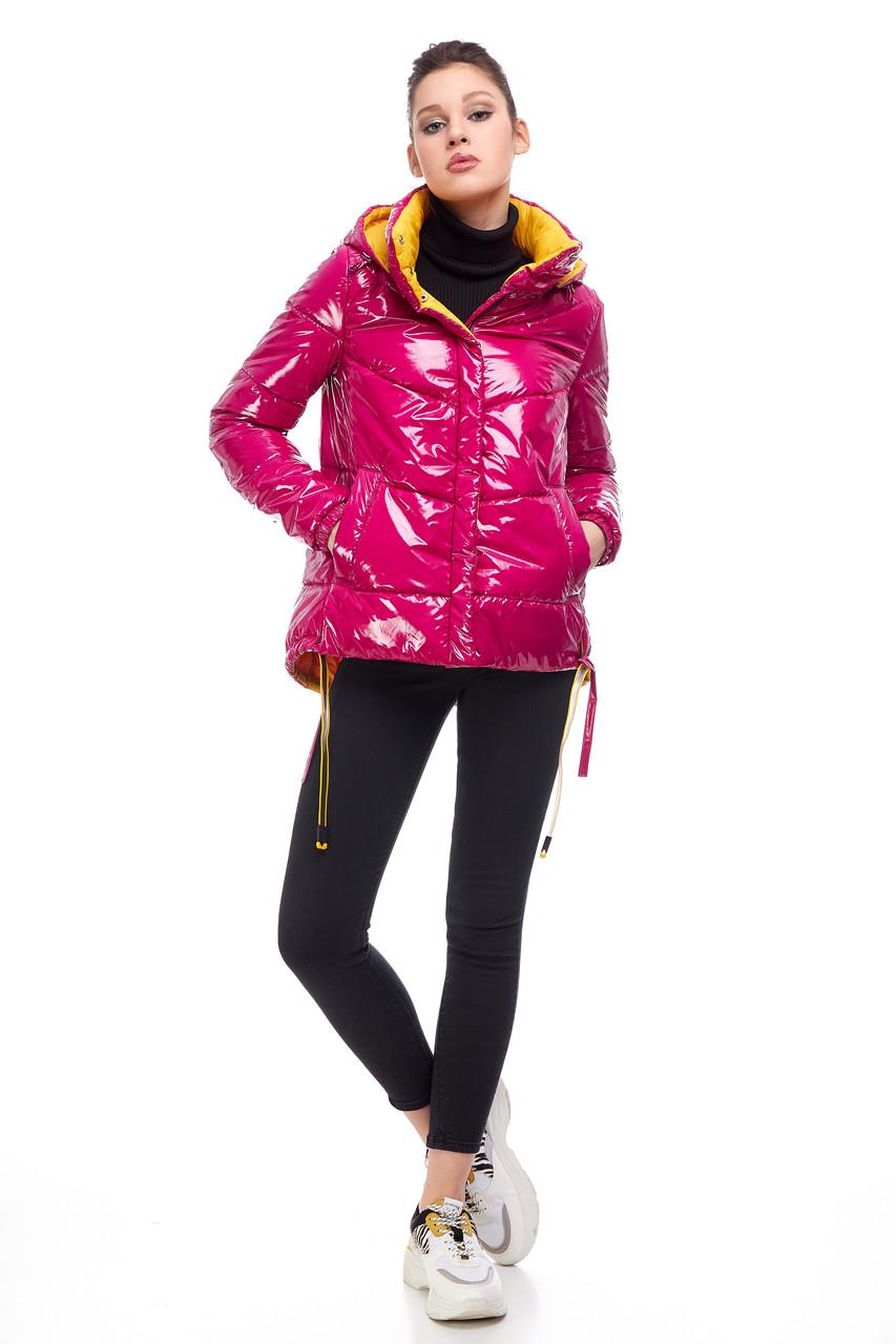 Модная новинка куртка молодёжная латекс цвет малиновый ярко-розовый размер 42-52