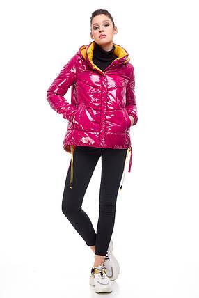Модная новинка куртка молодёжная латекс цвет малиновый ярко-розовый размер 42-52, фото 2