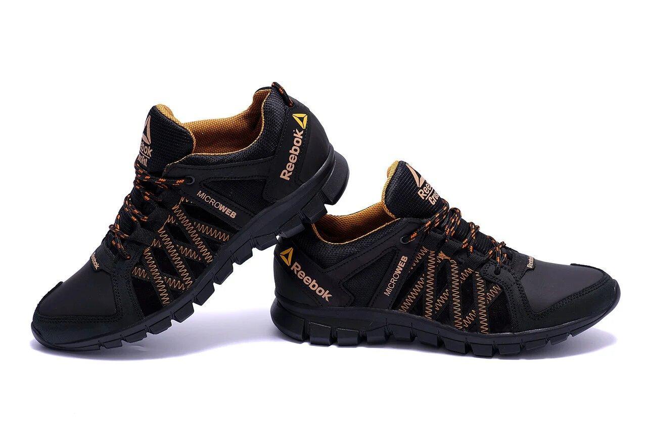 Мужские кожаные кроссовки в стиле Reebok Crossfit черные