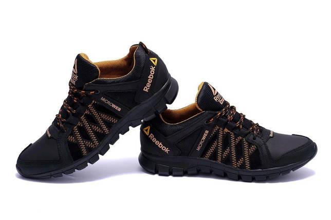 Мужские кожаные кроссовки в стиле Reebok Crossfit черные, фото 2