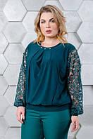 Блуза с гипюром размер плюс Беатрис малахит (50-64), фото 1