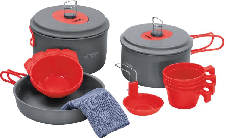 Набор посуды Terra Incognita Quatro Серый с красным (TI-QUATRO)