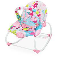 Шезлонг-качалка детский 6921 (3шт) муз, вибро, 2 полож.спинки, дуга, подвески, розовый