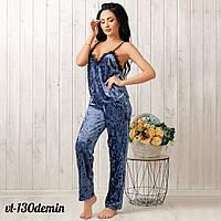 Комплект женский велюровый: штанишки и майка New Fashion VL-130denim | 1 шт.