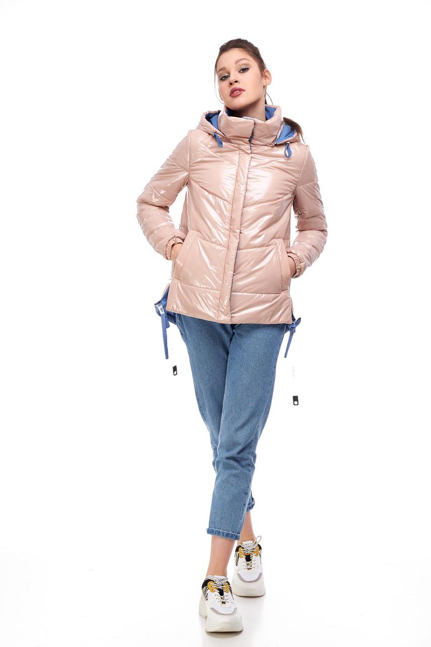 Персиковая демисезонная женская курточка,  размер 42-52