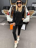 🔰 Женский весенний черный спортивный костюм с капюшоном