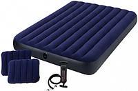 Матрас надувной двухместный с подушками Intex 64765 152х203х25 см, синий