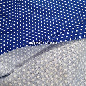 Ткань стрейч лен принт белый горох на синем