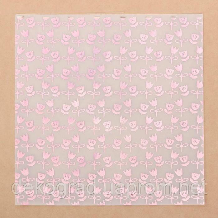 Калька для скрапбукинга с фольгированием «Тюльпаны» , 30,5 х 30,5 см