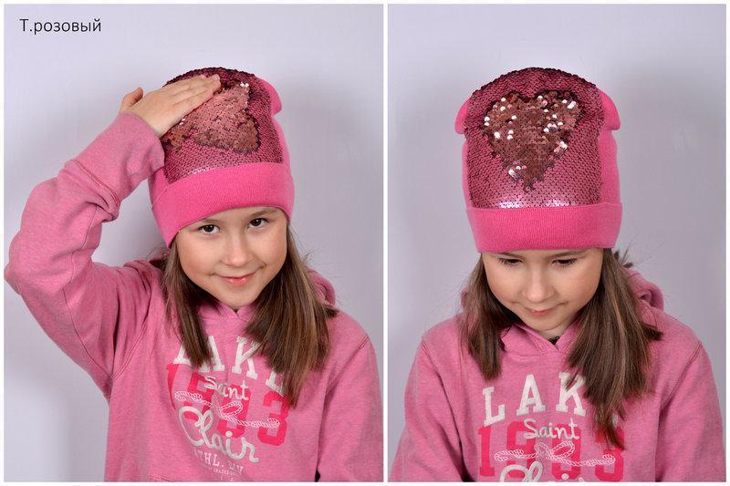 Модная шапка с пайетками для девочки