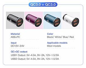 Зарядное устройство QC3.0+QC3.0 KUULAA Quick Charge 3,0 48 Вт Автомобильное зарядное устройство