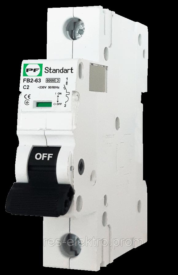Модульный автоматический выключатель FB2-63 STANDART 1P 2А С 6кА Promfactor