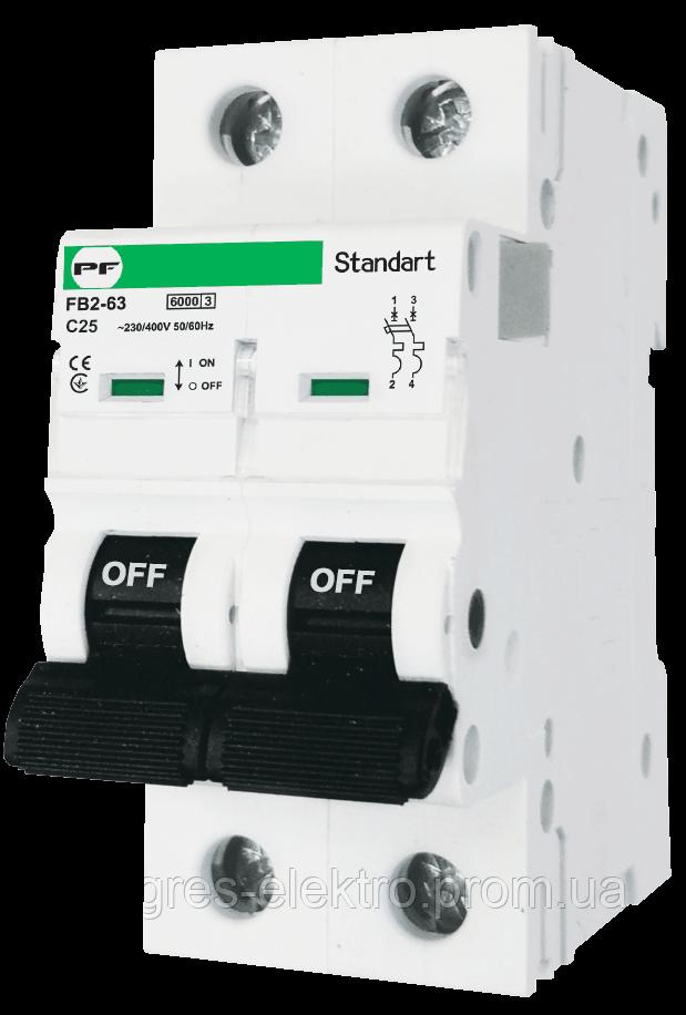 Модульный автоматический выключатель FB2-63 STANDART 2P 25А С 6кА Promfactor