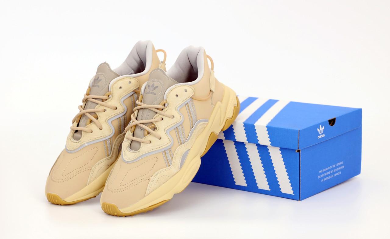 Мужские кроссовки Adidas Ozweego. Рефлектив. Beige бежевый.. ТОП Реплика ААА класса.