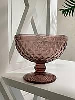 Креманка из цветного стекла Розовый мокко кедр (набор из 6шт)