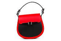 Итальянская женская сумка из натуральной кожи. Цвет: Черный с красным, фото 1