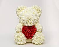 Мишка из роз 40см- Белый