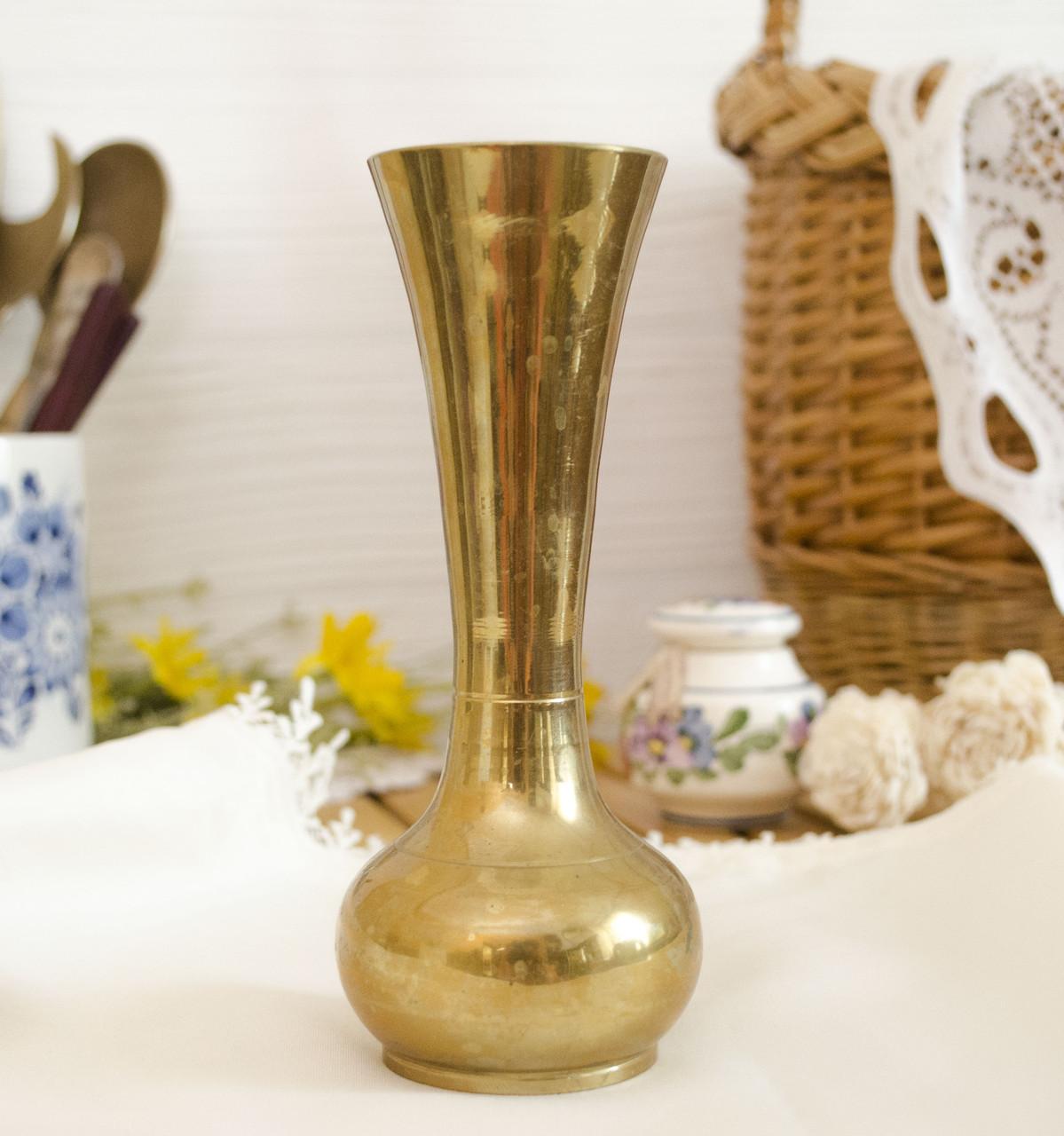 Винтажная латунная вазочка под маленький букетик цветов, латунь, 15 см