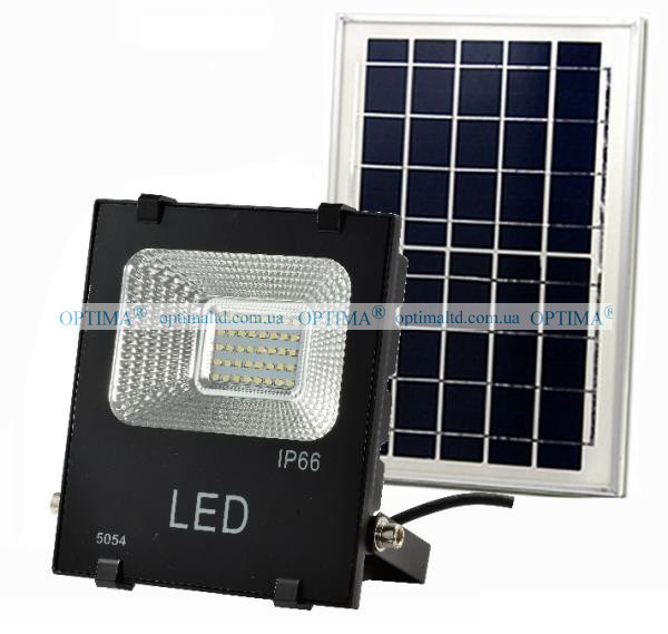 LED прожектор SMD на солнечных батареях OPTIMA Sol 25W 5000K (J-25-01) Premium 2000Lm черный