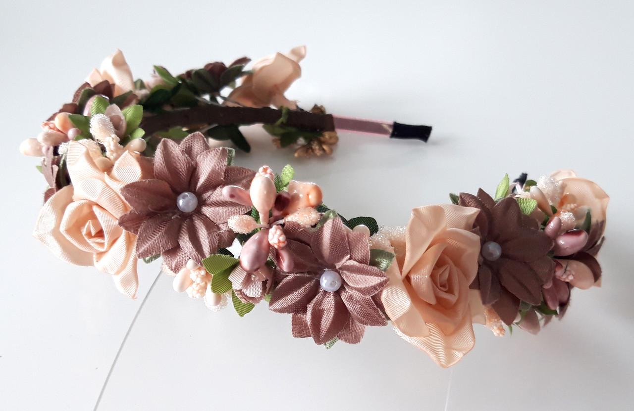 Обруч веночек ручная работа бежевые цветы
