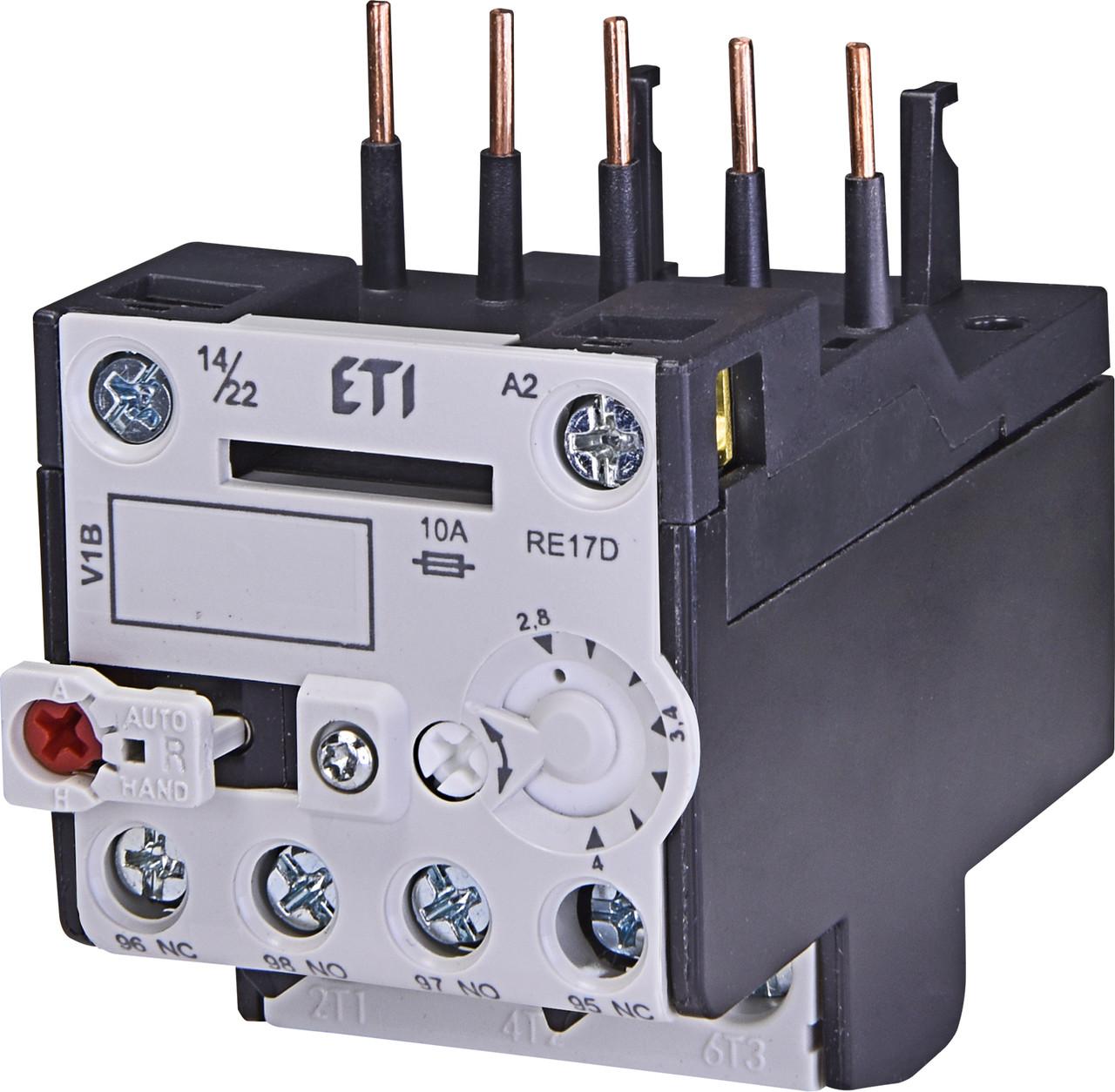 Тепловое реле ETI RE 17D-4.0 (2,8-4A) CE07/CEC 4641406 (для контакторов)