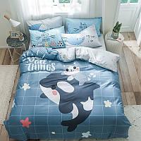 """Полуторный комплект постельного белья """"Дельфин и котенок"""" (хлопок), фото 1"""
