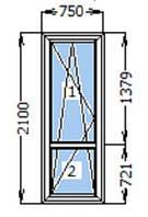 Балконные двери Rehau ШВ 700*2100 мм