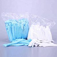 Шапочки Одноразові Преміум Бере (125шт/уп) на Широкій Резинці Гармошкою Нетканные Білі 8г