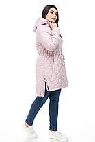 Весенняя куртка ниже бедра в стиле парки с кулисой на весну и очень, розовый цвет, размер 42-52, фото 3