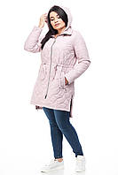 Весенняя куртка ниже бедра в стиле парки с кулисой на весну и очень, розовый цвет, размер 42-52