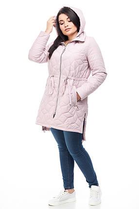 Весенняя куртка ниже бедра в стиле парки с кулисой на весну и очень, розовый цвет, размер 42-52, фото 2