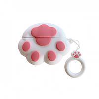 Чехол кейс для наушников Apple AirPods Pro Alitek Лапка White/Pink + держатель